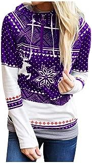 Women Christmas Hoodies Sweater Tops, Ladies Xmas Printed Long Sleeve Pullover Sweatshirt Coat