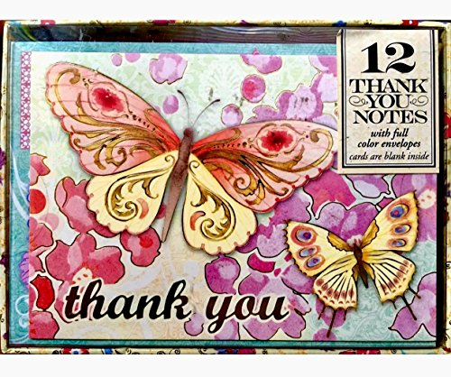 Punch Studio Set of 12 Boxed Blank Thank You Note Cards ~ Pink Butterflies 94960