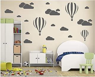 Melissalove White Clouds & Hot Air Balloons Nursery Kids Childs Room Vinyl Wall Art Sticker Baby Wall Decals Removable Waterproof Wallpaper D952 (Grey)