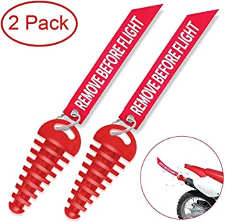 """MELIFE Red 0.6""""-1.5"""" Muffler Exhaust Wash Plug, Motorcycle Dirt Bike 2 Stroke w/Streamer Remove Before Flight ATV Quad Rubber Exhaust Silencer -2 Pack"""