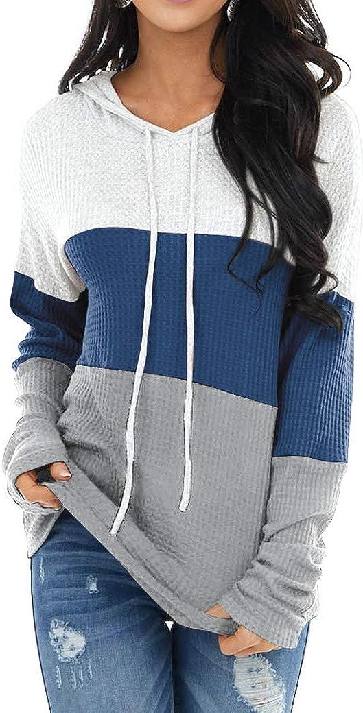 Womens Color Block Drawstring Hoodies V Neck Loose Fit Long Sleeve Waffle Knit Pullover Sweatshirt