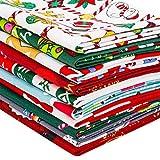 12 Stück Baumwoll-Stoffbündel mit Weihnachtsmotiv,