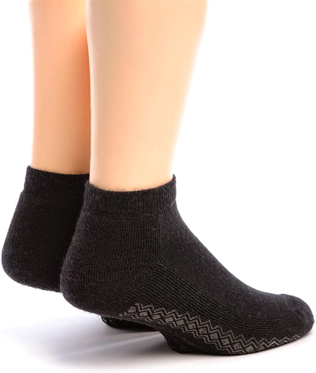 Warrior Alpaca Socks - Boy's Non-Slip Mini Crew Sock Black Small