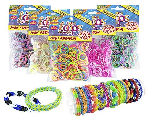 CRAZE Loops 300er Set Knüpfringe Premium Colors Silikonringe Armband Silikon Bänder Gummi Mega US-Trend 51147, bunt