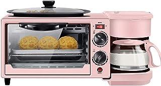Qinmo Horno eléctrico, máquina multifunción Desayuno antiadherente sartén Sandwich del perrito caliente de la tostada de los huevos fritos pizza de cristal Cafetera eléctrica casera de la cocina Horno