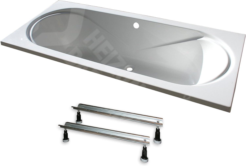 Acryl- Rechteck Badewanne Toscana  180 x 80 cm mit Mittelablauf (mit Fugestell ohne Ablauf)