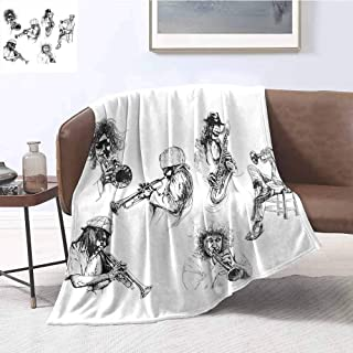 Jazz Music Decor Bedding microfiber blanket Sketch Image of Jazz Players Playing Instruments Trumpet and Saxophone Music Decor Super soft and comfortable luxury bed blanket W60 x L70 Inch Black White