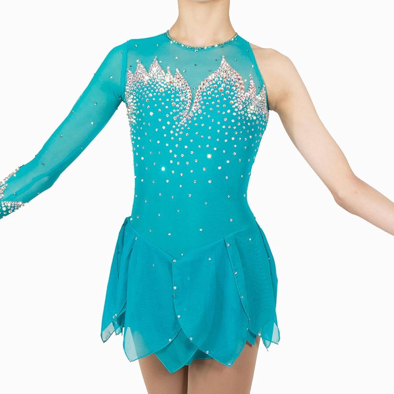 Heart&M Ice Skating Dress For Girls, Handmade Figure Skating Competition Costume Crystals Skating Dress Light bluee