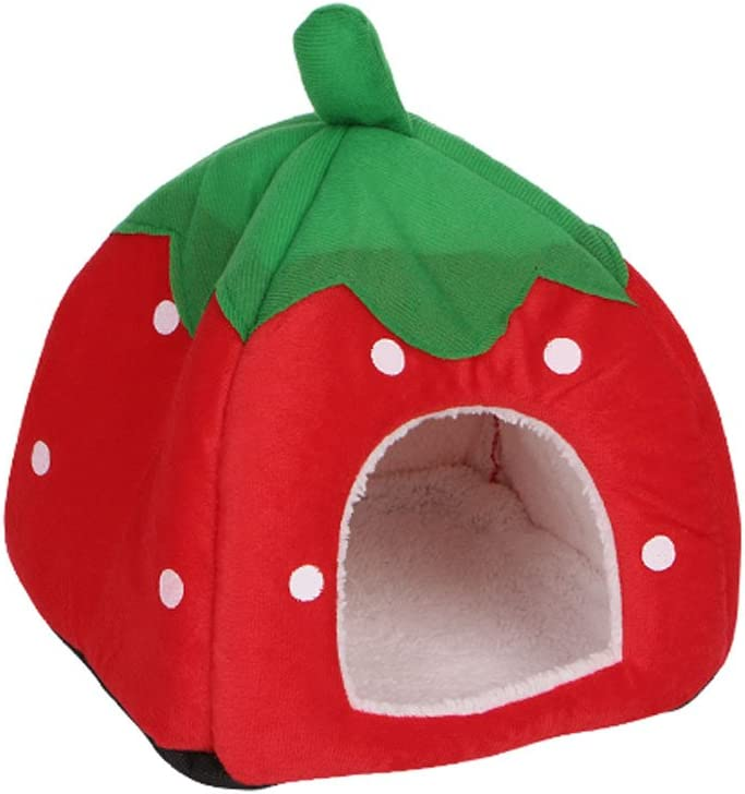 LifePavilion Strawberry Pattern Special sale item Pet Bed Condo Cat Furry Plush Pe List price