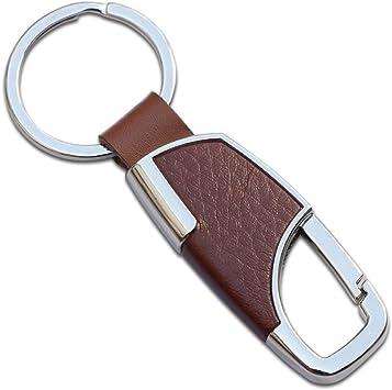 2PCS Leather Belt Chrome Keyring Keychain Metal Key Chain For Men Women Gift