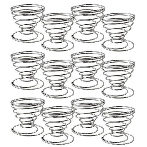 com-four® 12er Set Eierbecher Drahtspirale, Eierhalter verchromt (12-teilig - Spirale)