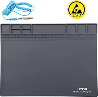 """Anti-static Mat ESD Safe for Electronic, HPFIX Silicone Soldering Heat Insulation Repair Mat for Cellphone, Laptop, Computer, 932°F Heat Resistant 15.9"""" x 12"""" Grey (Contain Gift Anti-static Wristband)"""