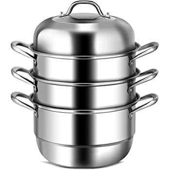 COSTWAY 3-Tier Stainless Steel Steamer, 11'' Multi-Layer Boiler Pot with Handles on Both Sides, Cookware Pot with Tempered Glass Lid, Work with Gas, Electric, Grill Stove Top, Dishwasher Safe, Includes 2 Steaming Septa