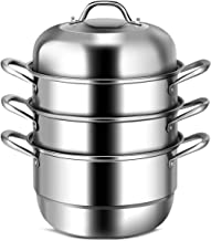 COSTWAY 3-Tier Stainless Steel Steamer, 11'' Multi-Layer Boiler Pot with Handles on Both Sides, Cookware Pot with Tempered Glass Lid, Work with Gas, Electric, Grill Stove Top, Dishwasher Safe, Includes 2 Steaming Septa (Stainless Steel)