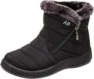 Women Snow Boots Winter, Ladies Solid Ankle Short Boots Waterproof Footwear Warm Shoes