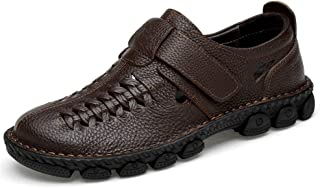Xujw-shoes store, 2019 Mens New Lace-up Flats Men's Perforated Oxford Dermis Braided Anti-Skid Summer Adjustable Shoulder Strap Outdoor Hand-Sewn Air-Permeable Tight-Toed Sandals
