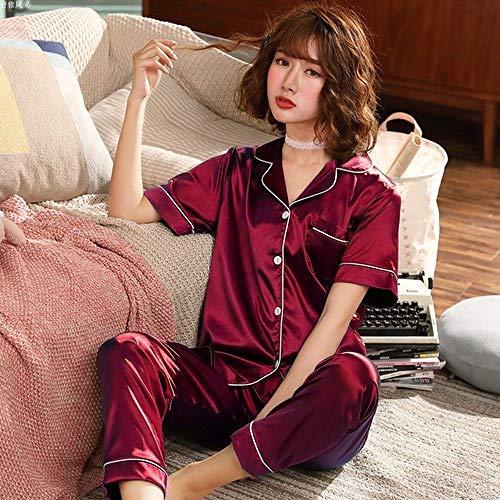 XUHRA pyjama voor de zomer, 2019 pyjama, korte mouwen, Pijama voor de lente, zomer, lange broek, pyjama, grote maten 3XL, 4XL, 5XL, 85 kg pyjama's