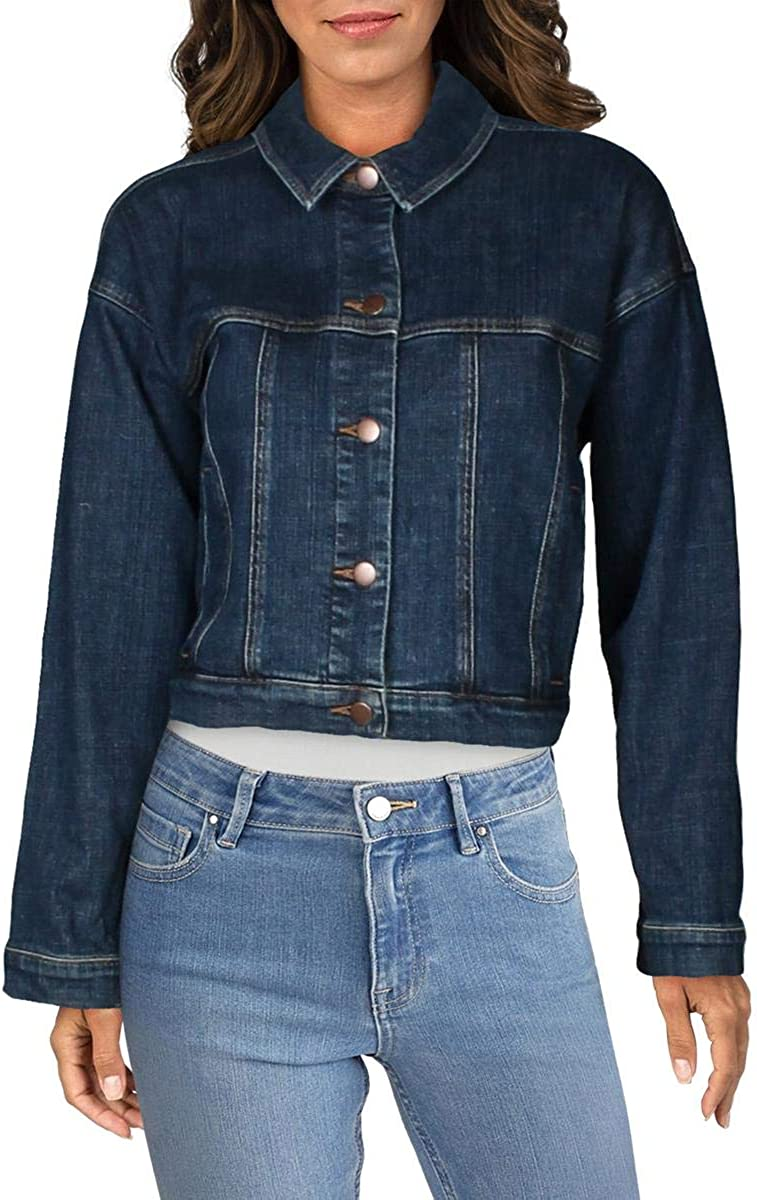 Eileen Fisher Womens Collared List price Jacket New arrival Fall Denim