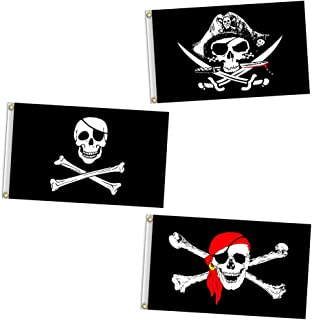 Vlalin Pirate Flag, 3 PCS 2' x 3' Skull and Crossbones Jolly Roger Flag for Outdoor
