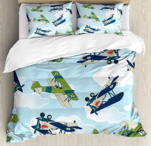 Ambesonne Airplane Duvet Cover Set, Vintage Allied Plane Flying Pattern Cartoon Children Kids Shark Teeth, Decorative 3 Piece Bedding Set with 2 Pillow Shams, Queen Size, Olive Green