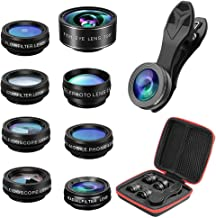 Phone Camera Lens,Cell Phone Camera Zoom Lens Kit with 15x Macro,2X Telephoto,198° Fisheye,0.63x Wide,Kaleidoscope,Cpl/Flow/Star/Radial Filter Lens,Compatible with iPhone by IKALULA