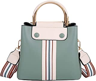 Bag Female 2019 Autumn and Winter New Korean Fashion Wild Pu Female Bag Diagonal Across The Kelly Bag Collision Color Shoulder Bag (Color : Green)