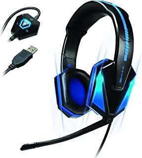 ENHANCE GX-H1 PC Gaming Headset with Virtual 7.1 Surround Sound , Blue LED's & In-Line Volume Control - Works With Star Wars Battlefront , Football Manager 2016 , World of Warcraft & many more!