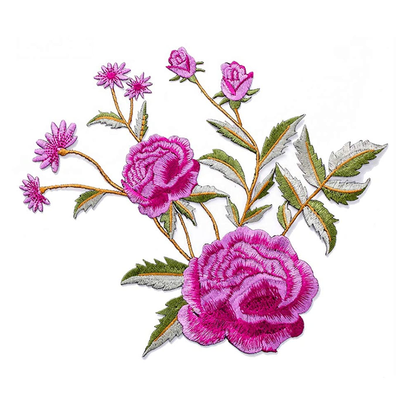DIY Stripe Applique Iron On Patches Flowers Pink Rose Embroidery Iron Flower Patches for Clothing Sew On Badges for Clothes