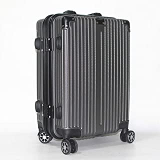 Trolley case PC Brushed Stripe Aluminum Frame Luggage Boarding Suitcase Travel case Gray 24 inch