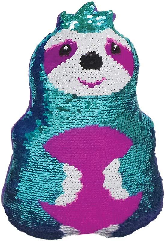 Iscream Friendly Sloth 10 X 6 5 Reversible Sequin Soft Fleece Back Mini Pillow