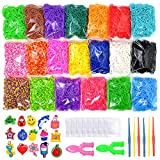 9200+ Colorful Rubber Bands Refill Set Include: 8400+ Premium Quality Loom Bands + 400 S-Clips + 15 Lovely Charms + 6 Crochet Hooks + 2 Y Loom