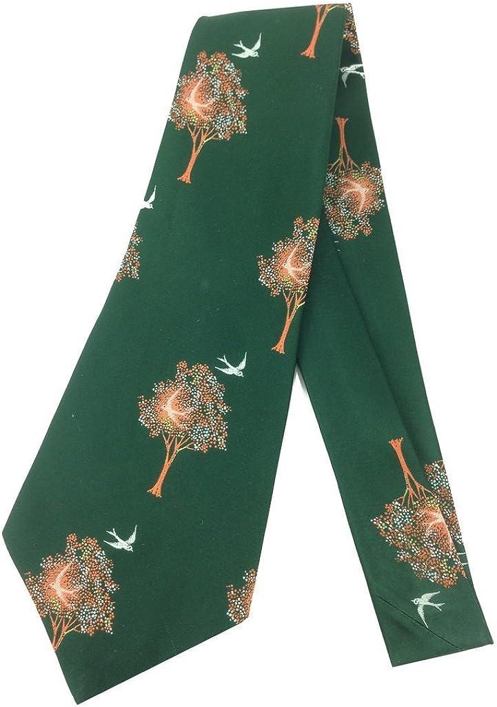 Tree Bird Vintage Tie Jacquard Weave Wide Kipper Necktie