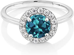 Gem Stone King 925 Sterling Silver London Blue Topaz Women's Halo Engagement Ring (1.86 Ct Round, Gemstone Birthstone, Available in size 5, 6, 7, 8, 9)