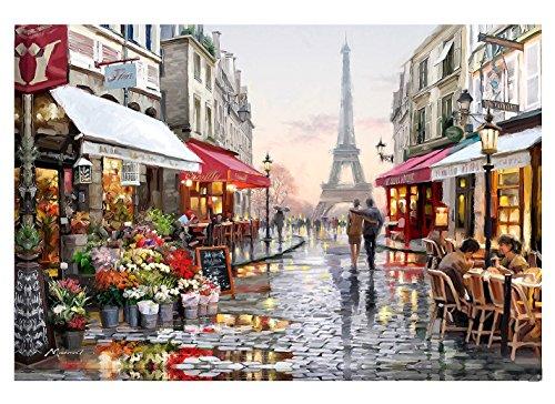 Diy pintura al óleo por número kit, Pintura Paintworks Torre Eiffel romántica Paris vista a la calle dibujo con pinceles 16 * 20 pulgadas decoración navideña Decoraciones regalos (sin marco)