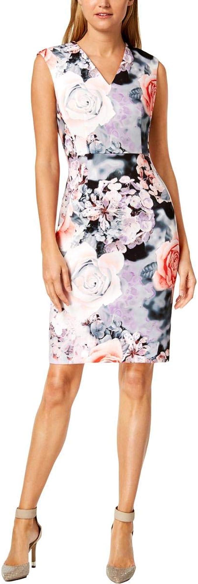 Calvin Klein Damen Sleeveless Printed Sheath with V Neckline Dress ...