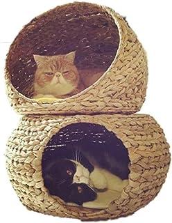 AosyGFR Cerrado Rattan Cat Cómoda Y Ventilada Cat Cat Cat Bed Villa Gato Suministros Four Seasons Universal Extraíble Y Lavable Aves Casas para pájaros