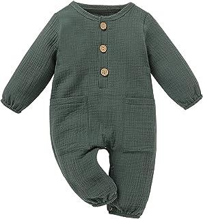 الوليد بيبي بوي فتاة القطن الكتان رومبير بذلة مع جيوب ملابس ملابس (Color : Green, Size : 70)