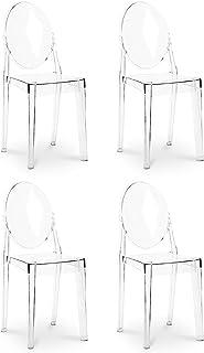 Sedia modello fantasma in stile Luigi da pranzo e da tavolo trasparente