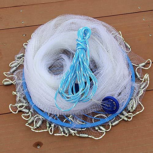 Ryoizen Fischernetz Wurfnetz Monofilament Handwurf Angeln Mesh American Style Falle Net Angelzubehör Fisch Wurfnetz Zum Fischen für Köderfalle, strapazierfähig Angelnetz(Weiß,240cm)