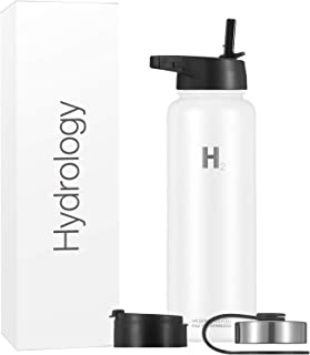 Hydrology Water Bottle - 40 oz with 3 LIDS Double Wall Vacuum Insulated Stainless Steel Hydro Sports Wide Mouth Hot and Cold Flask