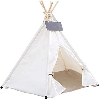 Tipi-tält för offer, hund-/katt-/dryckelstält, hundbädd kattsäng med kudde lyx bärbara hundtält containerhus för små medel...