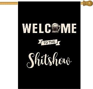 موليلي مرحبًا بكم في Shitshow House Flag مزدوج الجوانب أعلام تزيينية لافتة للرياضات الخارجية للرياضات الخارجية لعبة العائل...