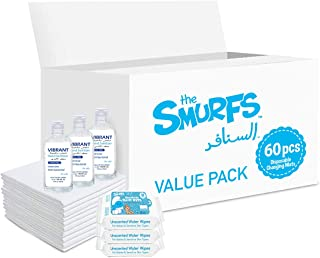 Smurfs Disposable Changing Mats 60 + Smurfs Water wipes 36 x3 + Vibrant Sanitizers 100 ML x3