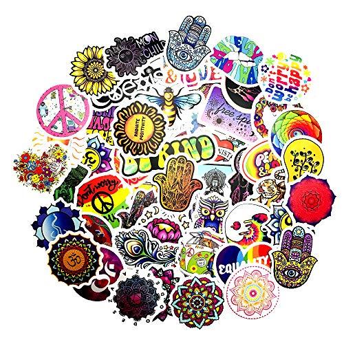 JZLMF 50 pegatinas personalizadas estilo hippie para coche, casco, teléfono móvil, tableta, decoración