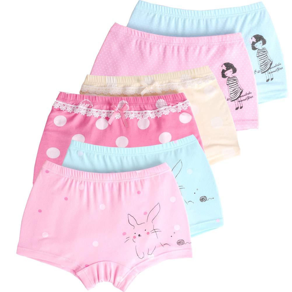 LeQeZe 6 Pack Little Girls Boyshorts Knickers Soft Cotton Kids Underwear Size 2-11 Years