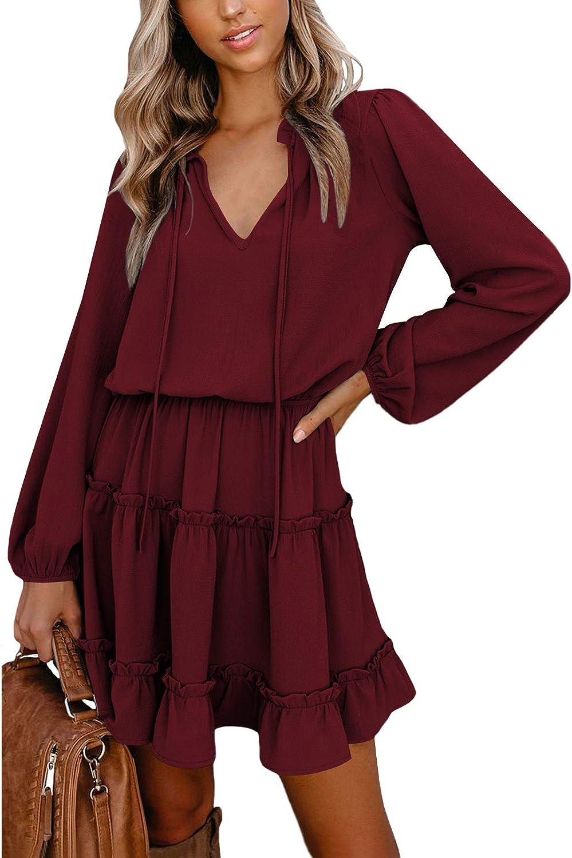 TEWWEY Tampa Mall Women's Summer Mini Dress Beach Casual Flo V Elegant Ranking TOP5 Neck