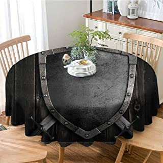 VICWOWONE Soft Round Tablecloth Medieval Decor Collection Medieval Shield and Crossed Swords on Wood Gate Safety Security Military Style Enjoy Dining Dark Wood Dimgrey D43