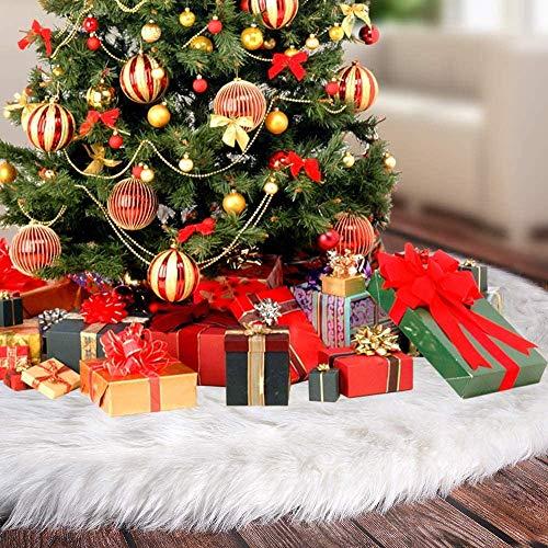 Lmani Weihnachtsbaum-Rock, Kunstfell, groß, weiß, rund, Weihnachtsdekoration, passend für jeden Baum White-48inch