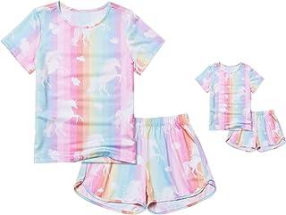 لباس عروسک و دخترانه لباس خواب Pjamas Unicorn Pjs لباس عروسک دخترانه کودکان و نوجوانان آمریکا را تعیین می کند