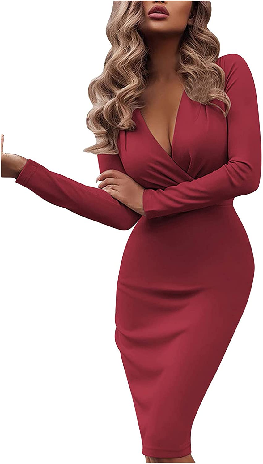 Women's Long Sleeve Deep V Neck Dress Sexy Plus Size Solid Cocktail Wedding Guest Party Summer Casual Dresses